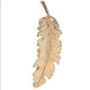 Gold Tone Feather Metal Hair Clip